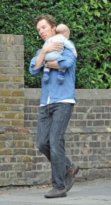 Exclusive Benedict Cumberbatch spotted in Hampstead heath high street with his new baby Christopher and his is wife getting a coffee and running some errands. Pic TillenDove 180915
